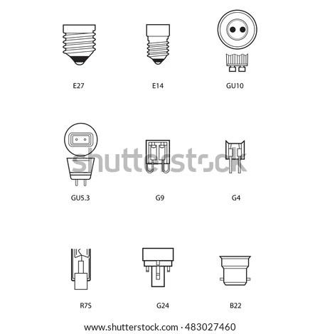 Technical Draw Bulb Socket Stock Vector 483027460
