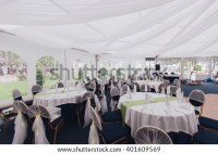 Wedding Tables Under Tent Decorated Wedding Stock Photo