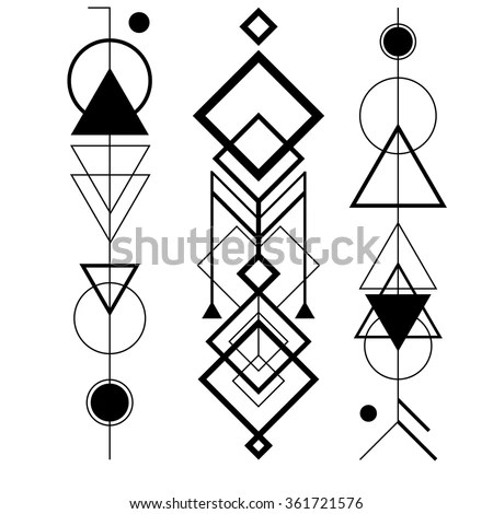 Abstract Mystic Sign Geometric Shapes Triangles Stock