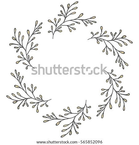Hand Drawn Wreath Made Vector Leaves Stock Vector