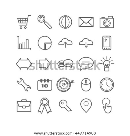 Set Outline Search Engine Optimization Icons Stock Vector
