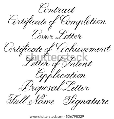Handwritten Calligraphic Tag Lines Business Documents