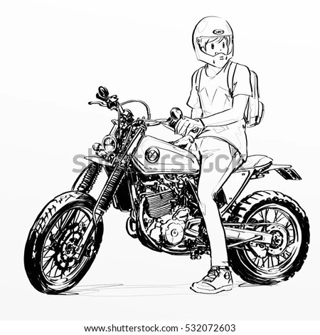 Cool Boy Riding Motorcycle Stock Illustration 532072603