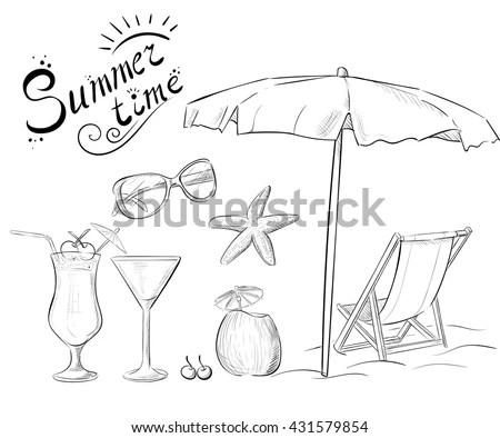 Hand Drawn Summer Time Icons Set Stock Illustration