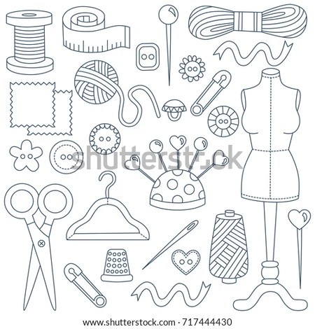 Vintage Textured Sewing Tailoring Symbols Stock Vector