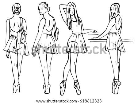 Sketch Girls Ballerinas Standing Pose Set Stock Vector