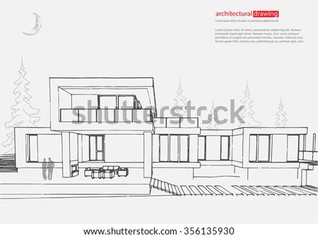 Wireframe Drawing 3 D Building Vector Architectural Stock