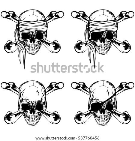 Vector Illustration Pirate Skull Crossed Bones Stock