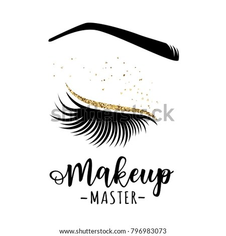 Makeup Master Logo Vector Illustration Lashes Stock Vector