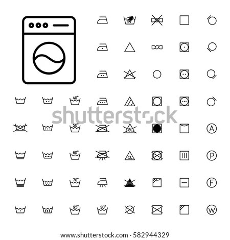 Machine Washing Laundry Symbols Icons Set Stock Vector