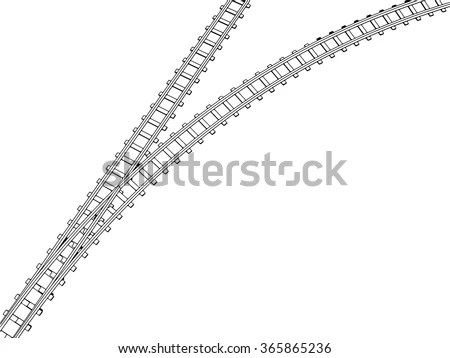 Vector Curved Endless Train Track Sketch Stock Vector