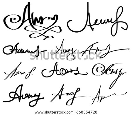 Collection Vector Signatures Fictitious Autograph Personal