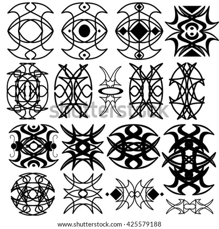 Medieval Occult Signs Magic Stamps Sigils Stock Vector