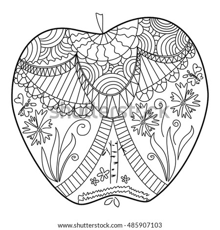 Apple Manual Contouring Monochrome Floral Elements Stock