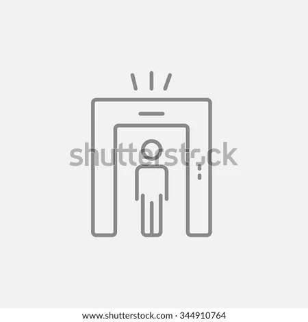Man Going Through Metal Detector Gate Stock Vector