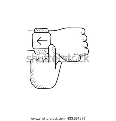 Smartwatch Vector Sketch Icon Isolated On Stock Vector