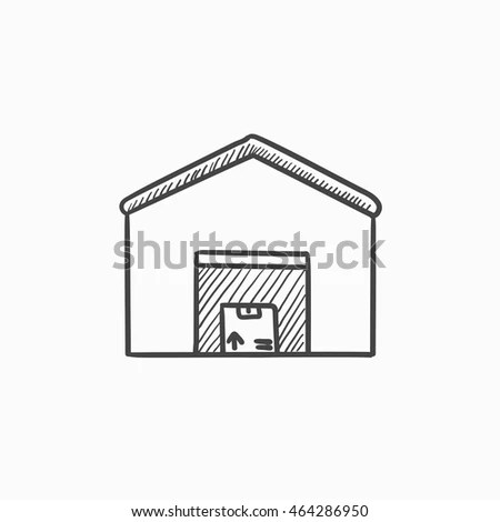 Roof Drawing App & Warehouse Vector Sketch Icon Isolated