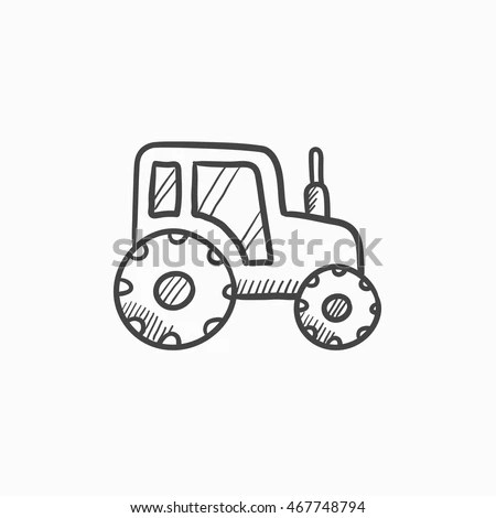 Tractor Line Icon Outline Vector Sign Stock Vector