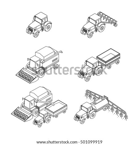 Vector Illustration Set Outline Agricultural Icons Stock