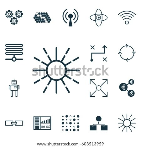 Set 16 Machine Learning Icons Includes Stock Vector