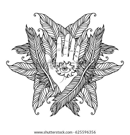 Zentangle Feather Mandala Page Adult Colouring Stock