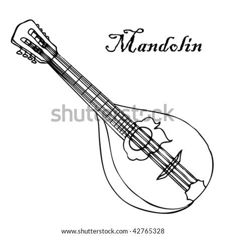 Stock Vector Illustration Musical Instrument Mandolin