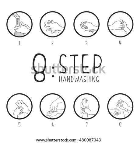 8 Step Hand Washing Stock Illustration 480087343