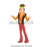 vector cartoon man hippie