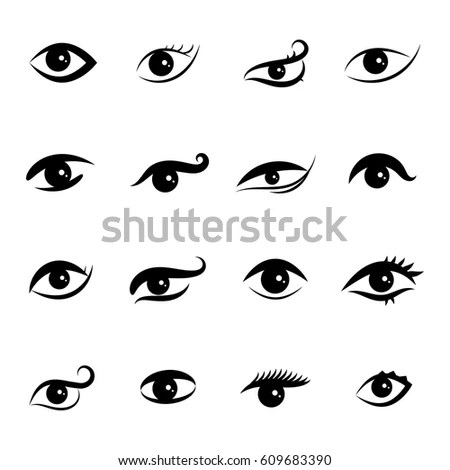 Eyes Icons Over White Background Vector Stock Vector