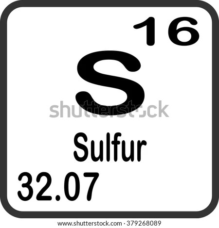 Periodic Table Elements Sulfur Stock Vector 379268089