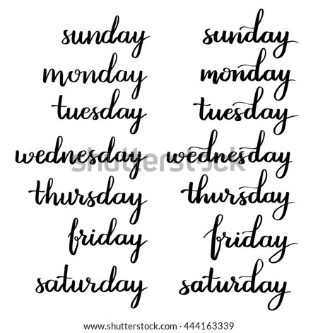Handwritten Days Week Monday Tuesday Wednesday Stock