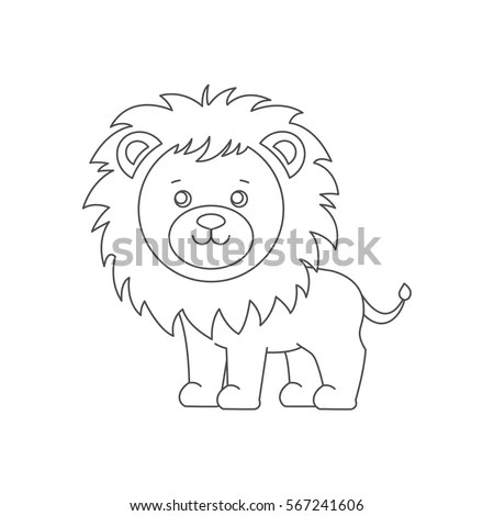 Lion Coloring Book Isolated On White Background Line