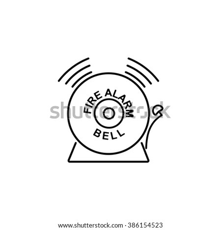 Security Set Fire Alarm Bell Line Stock Vector 386154523