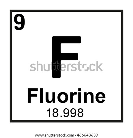 Periodic Table Element Fluorine Stock Vector 466643639