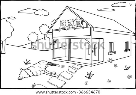 Coloring Page Three Little Pigs Stock Vector 366634670