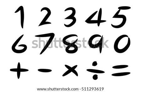 Black Hand Drawing Number Basic Math Stock Vector