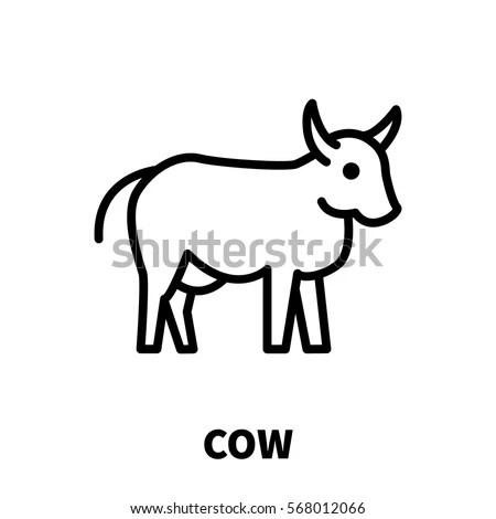 Cow Icon Logo Modern Line Style Stock Vector 568012066