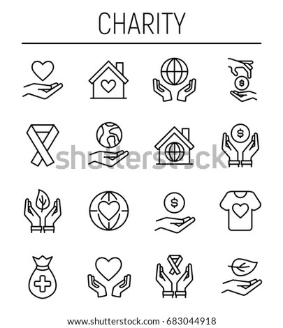 Set Charity Icons Modern Thin Line Stock Vector 562957777