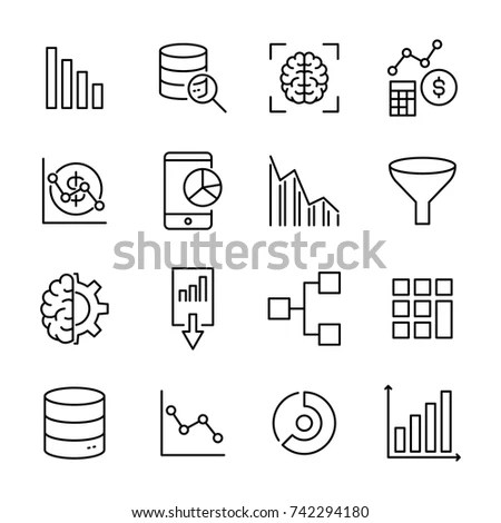 Modern Outline Style Data Analytics Icons Stock Vector