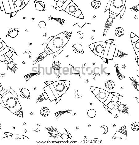 Cartoon Illustration Outline Rocket Vector Stock Images