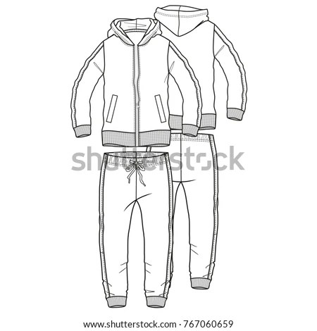 Tracksuit Garment Sport Vector Boy Man Stock Vector
