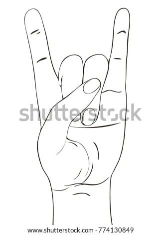 Rock Festival Poster Rocknroll Hand Gesture Stock Vector