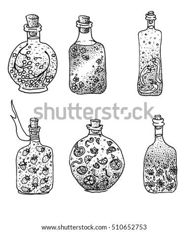 Design Graphic Set Decorative Bottles Liqueur Stock