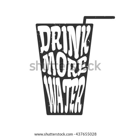 Drink More Water Vector Glass Straw Stock Vector 439249672