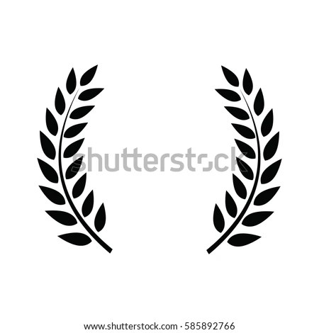 Laurel Wreath Symbol Victory Power Flat Stock Vector