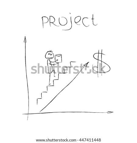 Stick Figure Climbing Social Ladder Stock Vector 409505020