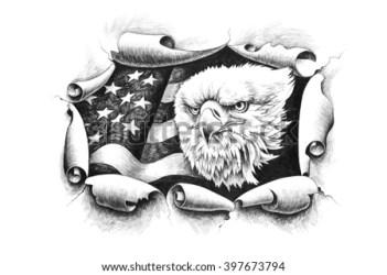 eagle american flag bald through wall paper breaking background states united america pencil shutterstock bow breakthrough portfolio illustration