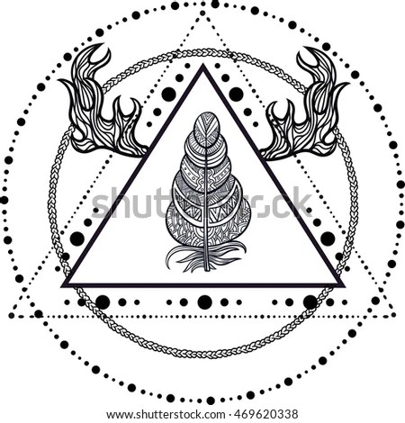 stock vector blackwork tattoo flash dreamcatcher triangular shape with the pyramids feathers and deer antlers 469620338 wiring diagram for a kindle auto electrical wiring diagram