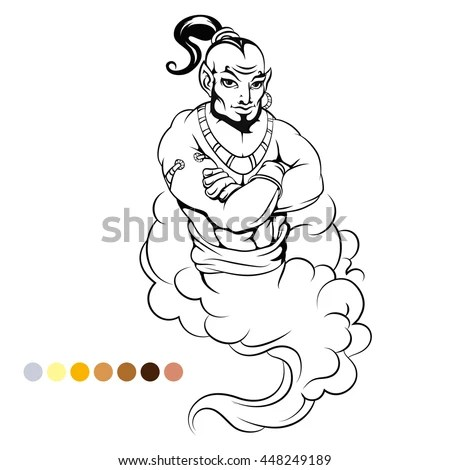 Coloring Page Genie Color Samples Vector Stock Vector