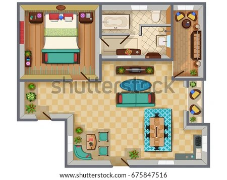 Top View Floor Plan Interior Design Stock Vector 675847516